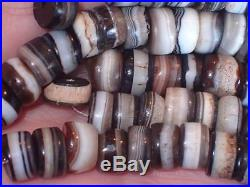 100 Ancient Tiny Rare Dzi Agate Beads Lot, 2000+ Years Old, 8-9.5mm, #A5623