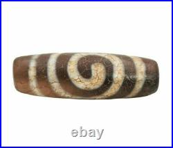 100% Authentic Ancient Tibeten Goat of Wealth Rare Patterns Ancient Old Dzi Bead