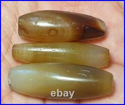 3 ANCIENT LARGE WESTERN ASIAN BANDED AGATE DZI BEADS (33mm to 37mm)