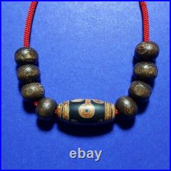 44 Tibetan bead old agate Lovers ancient dzi pure amulet necklace tibet eyes