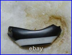 A Rare Ancient Banded Bow Agate stripped DZI bead
