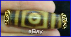 Ancient 3 Three eyes DZI Authentic Tibetab Solid Gold 18K Capped Pendant Amulet
