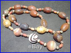 Ancient Agate Bead strands Chung DZI Double Eye Beads Himalayas Amulet Necklace