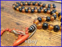Ancient Chung Dzi Bead Corals Black Coral And Faux TortoiseShell Beads Necklace