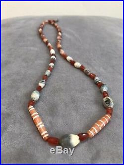 Ancient Chung Dzi Carnelian Beads Necklace King Solomon Agates 2000 Year Old