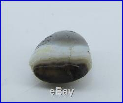 Ancient Chung dzi agate amulet & bead with white line from Afghanistan