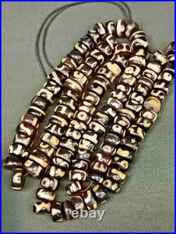 Ancient DZI Beads Collectible Candle Cut Agate Beads 1500 years! Prayer Beads