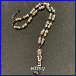 Ancient Hand-Woven Nine-Eyed with Tiger-Tooth Dzi Beads Necklace Fashions Jewelry