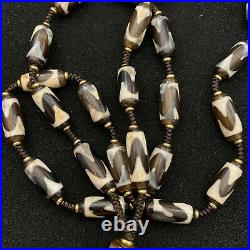 Ancient Hand-Woven Twelve-Eyed with Tiger-Tooth Dzi Beads Necklace Fashion Jewelry