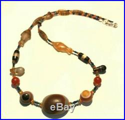 Ancient Lukmik Agate Dzi Bead with old glass beadsNecklace