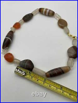 Ancient Rock Crystal Agate Dzi Bead Necklace