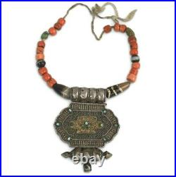 Antique Ancient Tibetan Genuine Chung Dzi Coral Turquoise Bead Jewelry Necklace
