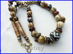Antique Dzi Beads, Horn and Ancient Pyu Style Pumtek Beads Necklace