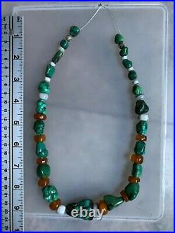 Antique Tibetan Turquoise & Amber &Shell & Ancient Chung Dzi Agate Bead necklace