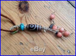 Antique Tibetan Two Eye Dzi bead Coral Ancient Agate Turquoise Necklace Pendant