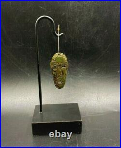 Dzi Old Bead Ancient Maya Antiquity Culture Face Figure Carved Turquoise
