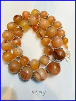Dzi Old Beads Ancient Antique Himalayan Carnelian Agate Beads Necklace