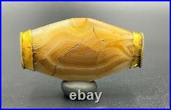 Dzi Old Beads Ancient Banded Agate Bactrian Jewelry Gold Folded Necklace Bead