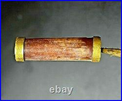 Dzi Old Beads Ancient Banded Agate Bactrian Jewelry Gold Folded Necklace Bead#49