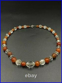 Dzi Old Beads Ancient Himalayan Crystals Carnelians Beads Necklace