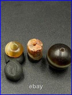 Lot Of Ancient Himalayan Old Beads Of Dzi, Intaglio Cylinder Seal Stamp