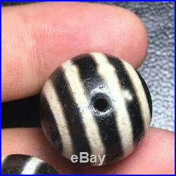 Old 3 Beads Ancient Authentic Pumtek Pyu Double Side Ghost Eye Lucky Dzi Bead