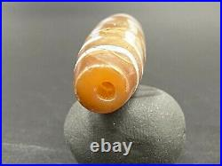 Old Ancient Himalayan Tibetan Chung Dzi Bead with Rare Eyes Pattern Unique Top