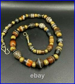 Old Antique Ancient Himalayan Indo Tibetan Dzi Banded Agate Beads Necklace
