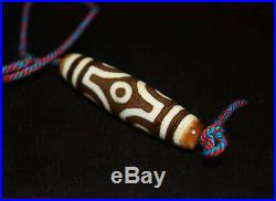Old tibetan dzi bead agate 6 eyes antique pure amulet necklace ancient pure eyed