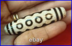 Rare! White Color Ancient 10 eyes dzi bead remove obstacles & Being Wealthy