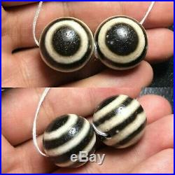Sale 2 Beads Ancient Authentic Pumtek Pyu Double Side Ghost Eye Lucky Dzi Beads