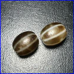 Sale 2 Beads Rare Ancient very Old Agate Espicall Melon Patterns Dzi Beads