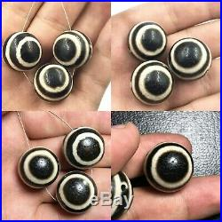 Sale 3 Beads Ancient Authentic Pumtek Pyu Double Side Ghost Eye Lucky Dzi Beads
