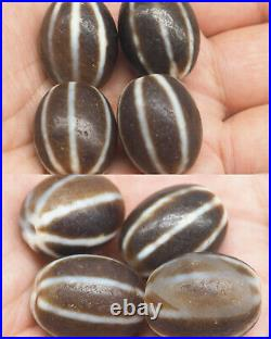 Sale 3 Beads Rare Ancient old agate Lucky Melon Patterns Dzi unique Beads#A448