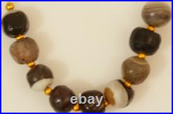 Strand of 9 Tibetan Ancient Beads Agate Banded Chung Dzi Beads Sulimani Beads