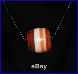 Tibetan dzi bead old agate banded medical red ancient medicine necklace tibet