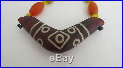 VERY RARE ANCIENT AGATE BEADS 7 EYES dZi PENDENT/ ANCIENT BEADS NECKLACE