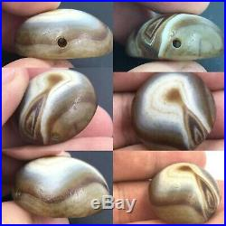 Very Old Ancient Natural Agate Lukmik Goat Eye Ancient Dzi Bead